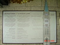 signage for The Peace Tower