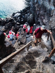 The Prince Philip Steps at El Barranco, the afternoon dry landing