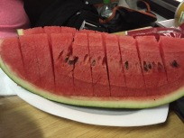 Everyone gets watermelon with dinner