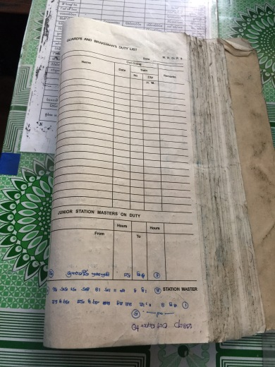 the ledger book where they record tickets and timetables