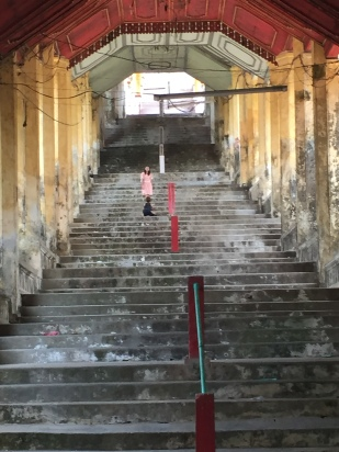 the stairs to the landmark temple