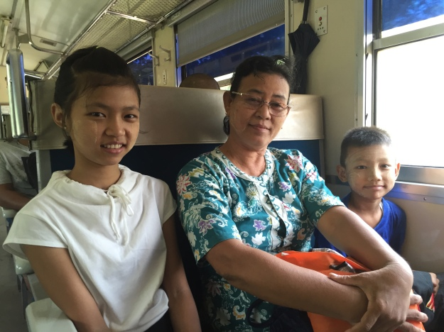 A beautiful Myanmar family we met on the city's Circular Commuter Train