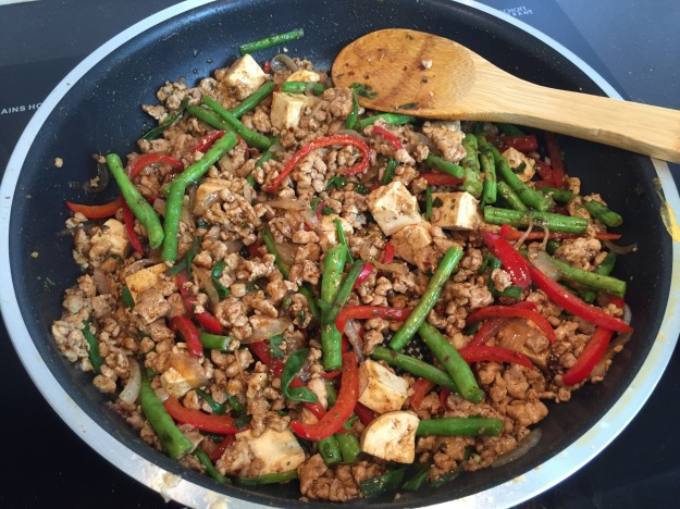 My Thai style ground pork and tofu with fresh ingredients