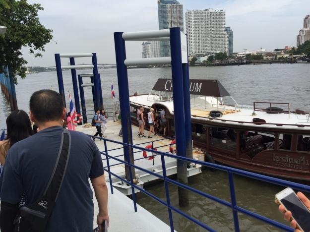 Walking to the hotel shuttle boat