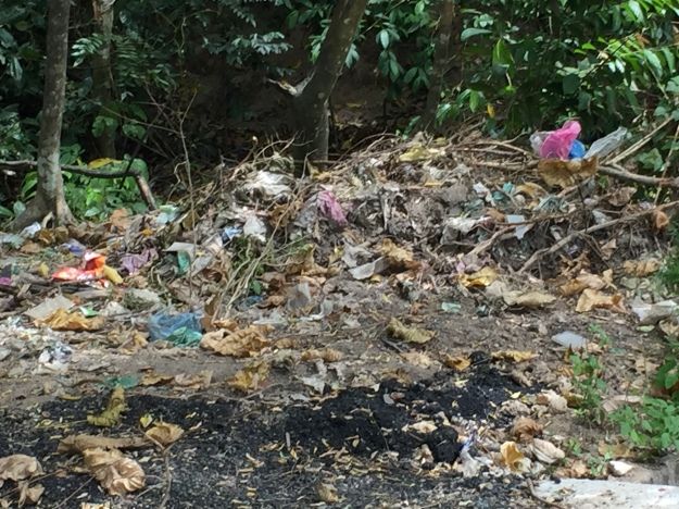 Construction crews create enormous garbage dumps in the fields and streets. And often they just burn it all